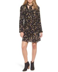 Way-in | Black Tie Neck Floral Print Dress | Lyst