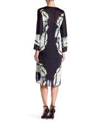 Halston - Black Long Sleeve Printed Silk Blend Caftan - Lyst