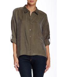 Dress Forum | Green Hi-lo Button Front Blouse | Lyst