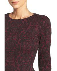 Maggy London Purple Jacquard Knit Midi Dress