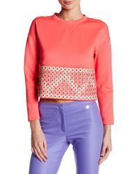 Versace Pink Studded Topstitched Long Sleeve Blouse