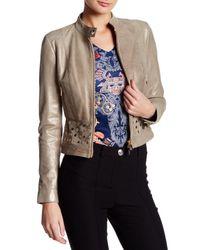 Versace Metallic Genuine Leather Gold-tone Grommet Jacket