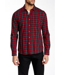 Gilded Age Red Long Sleeve Plaid Shirt for men
