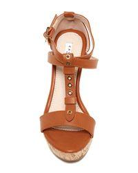 Elegant Footwear | Brown Gretta Studded Wedge Sandal | Lyst