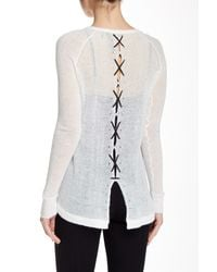 L.A.M.B. | White Laced Up V-neck Sweater | Lyst