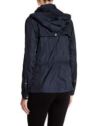 Vince Camuto Blue Quilt Trim Hooded Anorak