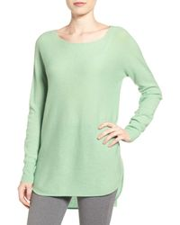 Halogen Green Cashmere High/low Tunic