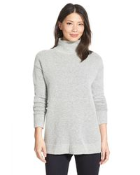 Halogen | Gray Mock Turtleneck Sweater (regular & Petite) | Lyst