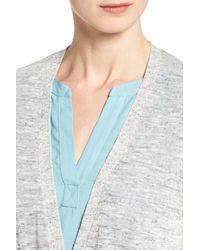 Halogen Gray Long Belted Linen Blend Cardigan (petite)