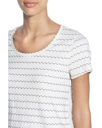 Halogen | Multicolor Stripe Front Embroidered Back Short Sleeve Tee | Lyst