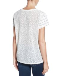 Halogen - Multicolor Stripe Front Embroidered Back Short Sleeve Tee - Lyst
