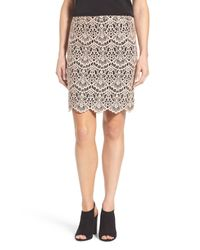 Halogen Pink Scallop Edge Lace Skirt (petite)