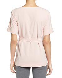 Halogen Blue Belted Short Sleeve Top