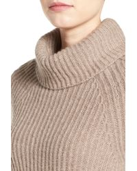 Halogen Multicolor Ribbed Cashmere Turtleneck Sweater
