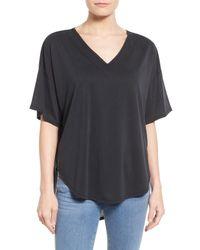 Halogen | Black Oversize Short Sleeve V-neck Tee (petite) | Lyst