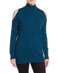 Halogen | Blue Cold Shoulder Turtleneck Sweater (petite) | Lyst
