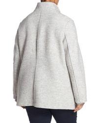 Halogen - Metallic Zip Front Stand Collar Coat (plus Size) - Lyst