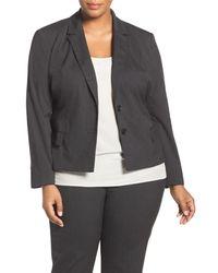 Halogen | Black (r) Ministripe Stretch Suit Jacket (plus Size) | Lyst