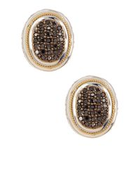 Effy - Metallic 18k Yellow Gold & Sterling Silver Black Diamond Stud Earrings - 0.62 Ctw - Lyst