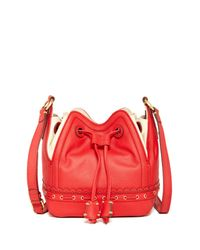 Isabella Fiore Red Lotus Leather Drawstring Bag