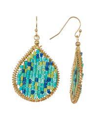 Joe Fresh | Blue Beaded Oval Drop Earrings | Lyst