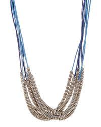 Joe Fresh - Blue Beaded Multi Row Cord Necklace - Lyst