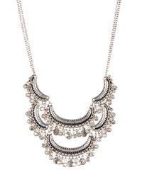 Joe Fresh - Metallic Burnished Silver Frontal Necklace - Lyst