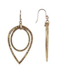 Lucky Brand - Metallic Crystal Detail Open Oval & Teardrop Earrings - Lyst