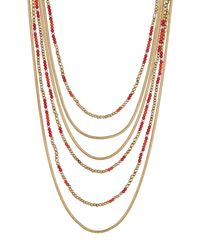 Lucky Brand - Metallic Multi Strand Necklace - Lyst
