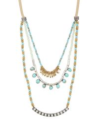 Lucky Brand - Metallic Two-tone Turquoise Layer Necklace - Lyst