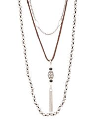 Lucky Brand - Metallic Removable Layered Necklace - Lyst