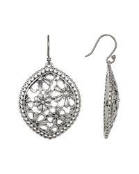 Lucky Brand | Metallic Silver Tone Lace Openwork Earrings | Lyst