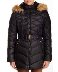 Jessica Simpson | Black Belted Faux Fur Trimmed Jacket | Lyst