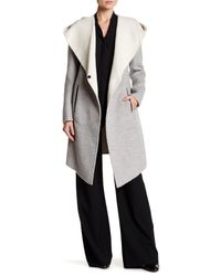Mackage Gray Hooded Double Face Wool Blend Coat