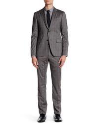 John Varvatos | Gray Austin Grey Subtle Plaid Two Button Notch Lapel Wool Suit for Men | Lyst
