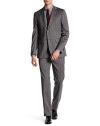 John Varvatos   Gray Hampton Walnut Subtle Plaid Two Button Notch Lapel Wool Suit for Men   Lyst