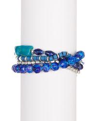 Kenneth Cole - Blue Four-row Multi Bead Stretch Bracelet - Lyst
