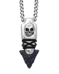King Baby Studio | Multicolor Sterling Silver Skull Arrowhead Necklace With Jet Point for Men | Lyst