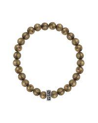 King Baby Studio - Metallic Logo Ring Accented Plain Pyrite Beaded Bracelet - Lyst