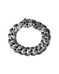King Baby Studio | Metallic Sterling Silver Large Feather Carved Link Bracelet With Skull Clasp | Lyst