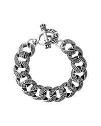 "King Baby Studio | Metallic Sterling Silver Engraved Scroll Link 8.75"" Bracelet | Lyst"