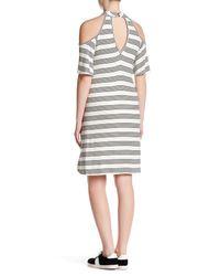 Peach Love California - Black Cold Shoulder Striped Dress - Lyst