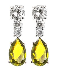 CZ by Kenneth Jay Lane | Yellow Prong Set Multicolored Round & Pear Cut Cz Drop Earrings | Lyst