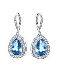 CZ by Kenneth Jay Lane - Blue Pear Cut Cz Pave Halo Earrings - Lyst
