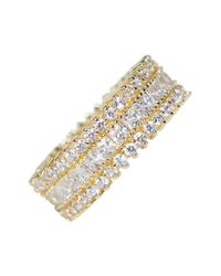 CZ by Kenneth Jay Lane - Metallic Pave Cz Band Ring - Lyst