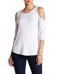 Kensie | White Long Sleeve Cold Shoulder Tee | Lyst