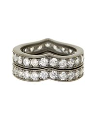 Freida Rothman - Metallic Pave Cz Heart Stack Ring Set - Size 7 - Lyst