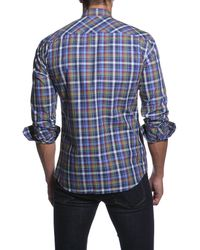 Jared Lang - Blue Long Sleeve Plaid Semi-fitted Shirt for Men - Lyst