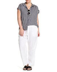 Allen Allen | White Drawstring Linen Pant (plus Size) | Lyst