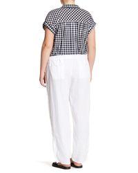Allen Allen   White Drawstring Linen Pant (plus Size)   Lyst